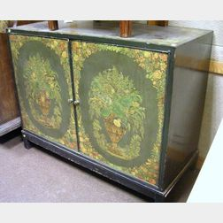Modern Decoupage Decorated Black Lacquered Two-Door Linen Cabinet