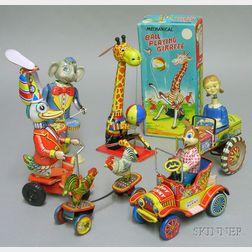 Six Lithographed Japanese Tin Clockwork Toys