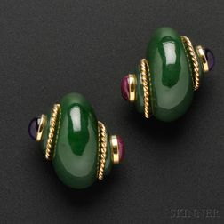 18kt Gold, Nephrite Jade, Amethyst, and Ruby Earclips, Verdura