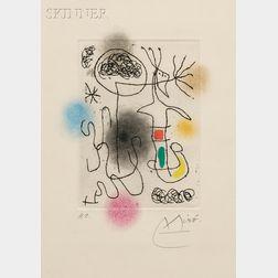 Joan Miró (Spanish, 1893-1983)      Midi le trèfle blanc