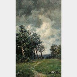 Augustus Maurice Friedlander (American, 1856-1897)      Path Along the Meadow's Edge