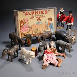 "Schoenhut ""ALPHIES A-B-C"" Blocks and Ten ""Humpty Dumpty Circus"" Figures"