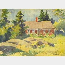 Sears Gallagher (American, 1869-1955)      Rocky Landscape with House, Possibly the John Willey House, Monhegan Island, Maine.