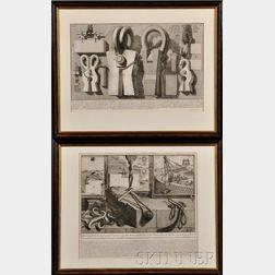 Giovanni Battista Piranesi (Italian, 1720-1778), Two Prints: Modo, col quale furono alzati i grossi Travertini, e gli altri Marmi... an