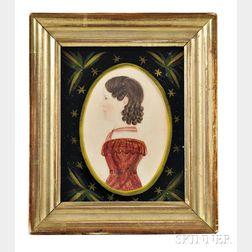 Rufus Porter (Connecticut/Massachusetts, 1792-1884)      Profile Portrait Miniature of a Young Woman