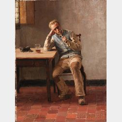 Evert Pieters (Dutch, 1856-1932)      A Quiet Smoke