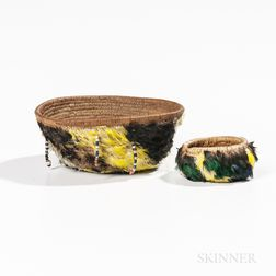 Two Feather Pomo Baskets