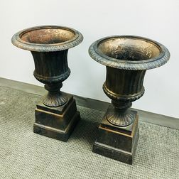 Pair of Black-painted Cast Iron Garden Urns