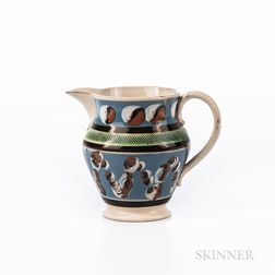 Cable and Cat's-eye Slip-decorated Creamware Pitcher