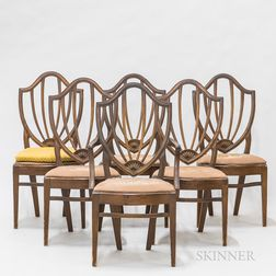 Set of Six Federal-style Carved Mahogany Dining Chairs
