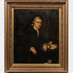 American School, 18th Century      Portrait of a Gentleman Seated at a Table Wearing a Powdered Wig