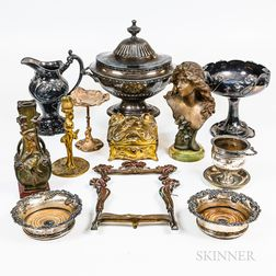 Group of Art Nouveau Silver-plated and Metal Tableware and Decorative Accessories