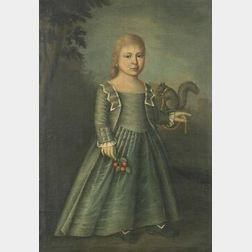 British School, 18th/19th Century  Young Girl with Her Pet Squirrel