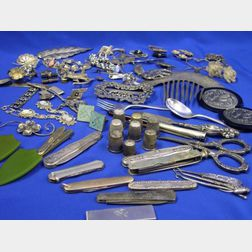 Group of Silver and Silvered-Metal Jewelry with a Group of Pen Knives, Scissors, Thimbles, and Implements.
