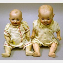 Two German Bisque Socket Head Baby Dolls