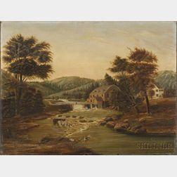 Harry A. Learned (American, 1844-1893)    River Mill Scene.