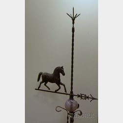 Molded Metal Running Horse Figure on Iron Lightning Rod Stand with Amethyst Glass Ball.