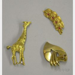 Three Gold Brooches/Clips