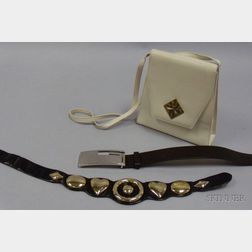 Vintage Judith Leiber Belt, a Gucci Brown Leather Belt, and a Paloma Picasso   Cream-colored Leather Purse.      Estimate $150-250