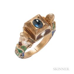 Renaissance Revival Gilt-Silver, Sapphire, and Enamel Ring