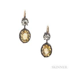 Yellow Sapphire and Old Mine-cut Diamond Earrings