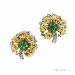 18kt Gold, Emerald, and Diamond Earrings, Tiffany & Co.
