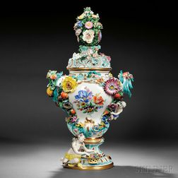 Meissen Porcelain Figural Potpourri Vase and Cover