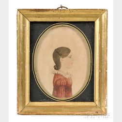 "Rufus Porter (Connecticut/Massachusetts, 1792-1884)      Profile Portrait Miniature of a Young Girl ""Harriet Mansu--"""