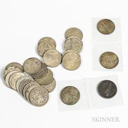 Twenty-five Morgan and Peace Dollars