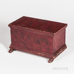 Miniature Red-painted Pine Shoe-foot Blanket Chest