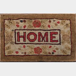 """Hooked Rug """"Home,"""""""