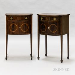 Pair of Neoclassical Mahogany Inlaid Stands