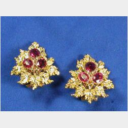 18kt Gold and Pink Tourmaline Earclips