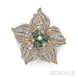 18kt Gold, Diamond, and Gem-set Flower Brooch
