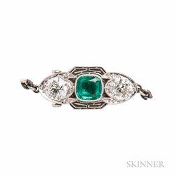 Art Deco Platinum, Emerald, and Diamond Clasp