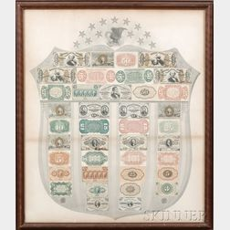 Framed Civil War Fractional Currency and Early Paper Currency