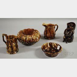 Five Rockingham Pottery Items