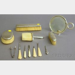 Assembled Six-piece Sterling Silver-mounted Dresser Set