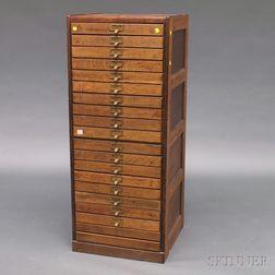 Oak Eighteen-drawer File Cabinet