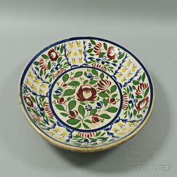 English Polychrome Dutch Gaudy Ceramic Charger