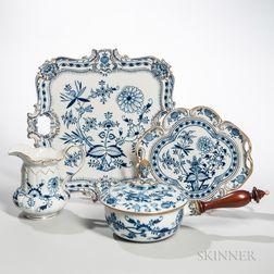 """Six Meissen """"Blue Onion"""" Pattern Porcelain Serving Pieces"""