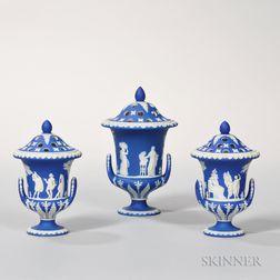 Three Wedgwood Dark Blue Jasper Dip Potpourri Vases and Covers