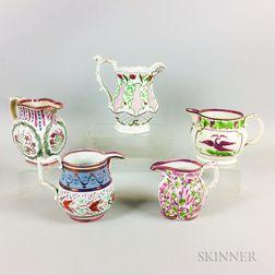 Five Pink Lustre Ceramic Jugs