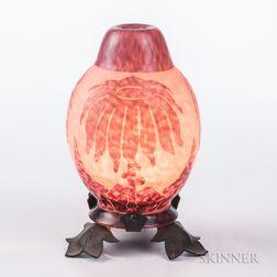Charles Schneider French Cameo Glass Veilleuse