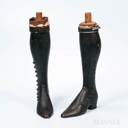 Pair of Black-painted Boot-form Carvings