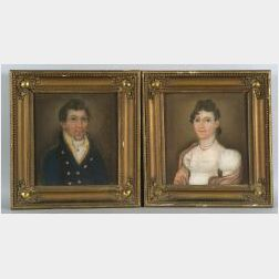 American School, early 19th Century  Pair of Portraits of a Gentleman and His Wife.
