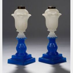 Pair of Clambroth and Translucent Blue Pressed Glass Acanthus Leaf Pattern Fluid Lam