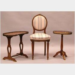 Two Louis XVI Style Parquetry Tables and an Upholstered Carved Beech Side Chair
