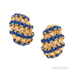 18kt Gold and Lapis Earclips, Van Cleef & Arpels