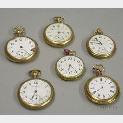 Six Assorted Gold-filled Open Face Pocket Watches